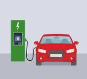 Ηλεκτρικό αυτοκίνητο και ηλεκτρικός σταθμός χρέωσης Στοκ εικόνα με δικαίωμα ελεύθερης χρήσης