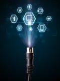 Ηλεκτρικό καλώδιο με τα εικονίδια πολυμέσων Στοκ Εικόνα