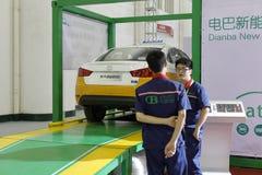 Ηλεκτρικό ταξί εμπορικών σημάτων του Πεκίνου δοκιμής ενεργειακού προσωπικού Dianba νέο Στοκ εικόνες με δικαίωμα ελεύθερης χρήσης