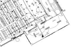 Ηλεκτρικό υπόβαθρο σχεδίων, αρχιτεκτονικό σχέδιο, κατασκευαστικό σχέδιο, σχέδιο ορόφων Στοκ φωτογραφία με δικαίωμα ελεύθερης χρήσης