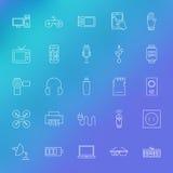 Ηλεκτρονικά εικονίδια γραμμών συσκευών που τίθενται πέρα από το θολωμένο υπόβαθρο Στοκ Εικόνα