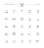Ηλεκτρονικά εικονίδια συσκευών καθορισμένα, διανυσματική απεικόνιση Στοκ Φωτογραφίες