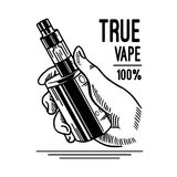 Ηλεκτρονικά τσιγάρο και υγρό, διανυσματικά μονοχρωματικά διακριτικά καταστημάτων Vape, εμβλήματα διανυσματική απεικόνιση