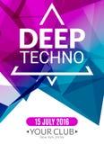 Ηλεκτρονική βαθιά αφίσα μουσικής techno λεσχών Μουσικό ιπτάμενο του DJ γεγονότος Ήχος έκστασης Disco Κόμμα νύχτας ελεύθερη απεικόνιση δικαιώματος