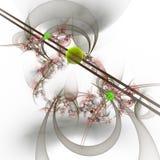 Ηλεκτρονική γραφιστική: Μάρμαρα σε ανοικτή επικοινωνία και καμπύλες με τα λουλούδια Στοκ Εικόνα