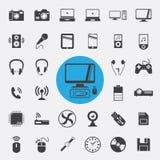 Ηλεκτρονική και εικονίδια συσκευών καθορισμένα Στοκ φωτογραφία με δικαίωμα ελεύθερης χρήσης