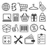 Ηλεκτρονικού εμπορίου συλλογή σημαδιών εικονιδίων αγορών που απομονώνεται επίπεδη στο μόριο Στοκ Εικόνες