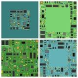 Ηλεκτρονικός πίνακας κυκλωμάτων τσιπ υπολογιστή με το επίπεδο διανυσματικό σύνολο απεικόνισης επεξεργαστών Στοκ Εικόνες