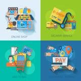 Ηλεκτρονικό εμπόριο αγορών οριζόντια Στοκ εικόνες με δικαίωμα ελεύθερης χρήσης