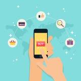 Ηλεκτρονικό εμπόριο, ηλεκτρονική επιχείρηση, on-line που ψωνίζει, πληρωμή, deliv απεικόνιση αποθεμάτων