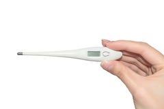 Ηλεκτρονικό θερμόμετρο στη διάθεση απομονωμένο ανασκόπηση λ&eps Στοκ εικόνα με δικαίωμα ελεύθερης χρήσης