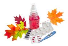 Ηλεκτρονικό ιατρικό θερμόμετρο, διάφορα φάρμακα και φθινόπωρο λ Στοκ φωτογραφία με δικαίωμα ελεύθερης χρήσης
