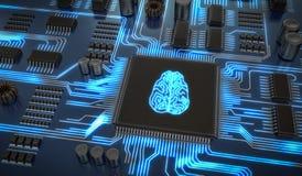 Ηλεκτρονικό κύκλωμα τεχνητής νοημοσύνης Μικροτσίπ με τον καμμένος εγκέφαλο απεικόνιση που δίνεται τρισδιάστατη απεικόνιση αποθεμάτων