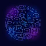 Ηλεκτρονικό ταχυδρομείο γύρω από την μπλε απεικόνιση απεικόνιση αποθεμάτων