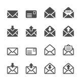 Ηλεκτρονικό ταχυδρομείο και σύνολο εικονιδίων επιστολών, διανυσματικό eps10 Στοκ Εικόνες