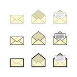 Ηλεκτρονικό ταχυδρομείο και σύνολο εικονιδίων ταχυδρομικών θυρίδων, διανυσματικό eps10 Στοκ Φωτογραφία