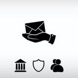 Ηλεκτρονικό ταχυδρομείο υπό εξέταση, διανυσματική απεικόνιση εικονιδίων Επίπεδο ύφος σχεδίου Στοκ εικόνες με δικαίωμα ελεύθερης χρήσης