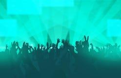 Ηλεκτρονικό φεστιβάλ μουσικής χορού με τους χορεύοντας ανθρώπους ελεύθερη απεικόνιση δικαιώματος