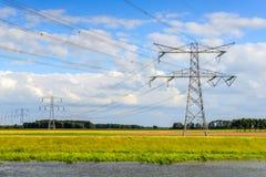 Ηλεκτροφόρα καλώδια και πυλώνες σε ένα ζωηρόχρωμο ολλανδικό τοπίο πόλντερ στοκ φωτογραφίες με δικαίωμα ελεύθερης χρήσης