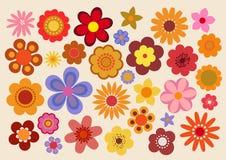 Η εκλεκτής ποιότητας δεκαετία του '60/η δεκαετία του '70 λουλουδιών διανυσματική απεικόνιση