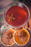Η εκλεκτής ποιότητας φωτογραφία, θερμαμένο κρασί για το βράδυ Χριστουγέννων ή χειμώνα με τα καρυκεύματα και τις ερυθρελάτες διακλ Στοκ Εικόνα