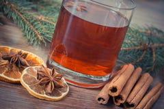 Η εκλεκτής ποιότητας φωτογραφία, θερμαμένο κρασί για το βράδυ Χριστουγέννων ή χειμώνα με τα καρυκεύματα και τις ερυθρελάτες διακλ Στοκ φωτογραφία με δικαίωμα ελεύθερης χρήσης