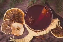 Η εκλεκτής ποιότητας φωτογραφία, ποτήρι του θερμαμένου κρασιού τύλιξε το μαντίλι, τα καρυκεύματα και τους κομψούς κλάδους Στοκ εικόνες με δικαίωμα ελεύθερης χρήσης