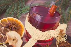 Η εκλεκτής ποιότητας φωτογραφία, ποτήρι του θερμαμένου κρασιού τύλιξε το μαντίλι, τα καρυκεύματα και τους κομψούς κλάδους Στοκ εικόνα με δικαίωμα ελεύθερης χρήσης