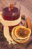 Η εκλεκτής ποιότητας φωτογραφία, ποτήρι του θερμαμένου κρασιού τύλιξε το μαντίλι με τα φρέσκα ευώδη καρυκεύματα Στοκ Εικόνες