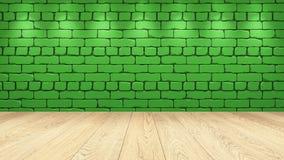 Η ελαφριά ξύλινη επιτραπέζια κορυφή στο υπόβαθρο είναι ένα πράσινο παλαιό τούβλο Επίδραση επικέντρων στον τοίχο - μπορεί να χρησι απεικόνιση αποθεμάτων