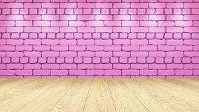 Η ελαφριά ξύλινη επιτραπέζια κορυφή στο υπόβαθρο είναι ένα ρόδινο παλαιό τούβλο Επίδραση επικέντρων στον τοίχο - μπορεί να χρησιμ ελεύθερη απεικόνιση δικαιώματος