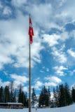 Η ελβετική σημαία κρεμά limply στον ήρεμο χειμερινό αέρα στοκ εικόνες