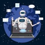 Η ελεύθερη συνομιλία BOT, εικονική βοήθεια ρομπότ στο lap-top λέει γειά σου το στοιχείο του ιστοχώρου ή των κινητών εφαρμογών, τε ελεύθερη απεικόνιση δικαιώματος