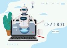 Η ελεύθερη συνομιλία BOT, εικονική βοήθεια ρομπότ στο lap-top λέει γειά σου το στοιχείο ιστοσελίδας έννοιας του ιστοχώρου ή των κ διανυσματική απεικόνιση