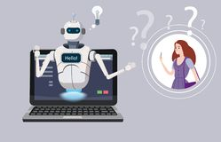 Η ελεύθερη συνομιλία BOT, εικονική βοήθεια ρομπότ στο lap-top λέει γειά σου το στοιχείο του ιστοχώρου ή των κινητών εφαρμογών, τε διανυσματική απεικόνιση