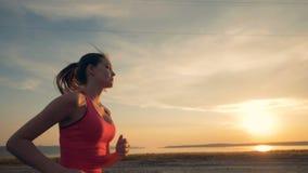 Η ελκυστική κυρία κατά μήκος της ακτής στο ηλιοβασίλεμα απόθεμα βίντεο