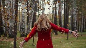 Η ελκυστική νέα γυναίκα ρίχνει τα κίτρινα φύλλα που πέφτουν επάνω Κορίτσι που περπατά στο πάρκο φθινοπώρου σε ένα παλτό τάφρων κί απόθεμα βίντεο