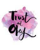 Η εμπιστοσύνη και υπακούει την τυπογραφική τυπωμένη ύλη τέχνης Ελεύθερη απεικόνιση δικαιώματος