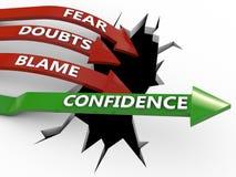 Η εμπιστοσύνη κερδίζει πέρα από την αρνητικότητα διανυσματική απεικόνιση