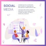 Η εμπορική ομάδα αντιπροσωπείας βελτιώνει τα κοινωνικά μέσα Ui διανυσματική απεικόνιση