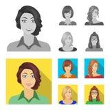 Η εμφάνιση μιας γυναίκας με ένα hairdo, το πρόσωπο ενός κοριτσιού Καθορισμένα εικονίδια συλλογής προσώπου και εμφάνισης σε μονοχρ απεικόνιση αποθεμάτων