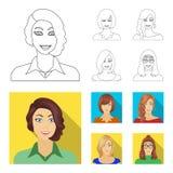 Η εμφάνιση μιας γυναίκας με ένα hairdo, το πρόσωπο ενός κοριτσιού Καθορισμένα εικονίδια συλλογής προσώπου και εμφάνισης στην περί απεικόνιση αποθεμάτων