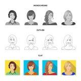 Η εμφάνιση μιας γυναίκας με ένα hairdo, το πρόσωπο ενός κοριτσιού Καθορισμένα εικονίδια συλλογής προσώπου και εμφάνισης στο επίπε ελεύθερη απεικόνιση δικαιώματος