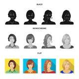 Η εμφάνιση μιας γυναίκας με ένα hairdo, το πρόσωπο ενός κοριτσιού Καθορισμένα εικονίδια συλλογής προσώπου και εμφάνισης στο Μαύρο διανυσματική απεικόνιση