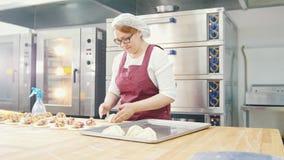 Η ενήλικη καλή χαμογελώντας γυναίκα ψήνει και διαμορφώνοντας τις πίτες στο αρτοποιείο φιλμ μικρού μήκους