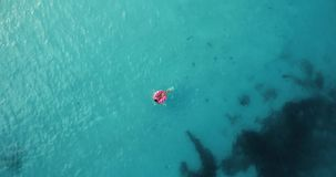 Η εναέρια άποψη μιας νέας γυναίκας που κολυμπά με doughnut κολυμπά το δαχτυλίδι απόθεμα βίντεο