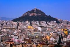 Η εναέρια άποψη της Αθήνας και τοποθετεί Lycabettus από το Hill Areopagus, Στοκ φωτογραφίες με δικαίωμα ελεύθερης χρήσης