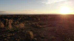 Η εναέρια άποψη του λιβαδιού φθινοπώρου, το τοπίο, το ηλιοβασίλεμα και ο φυσικός φακός καίγονται την επίδραση φιλμ μικρού μήκους