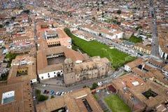 Η εναέρια άποψη του ναού του ήλιου του Incas ονόμασε Coricancha Qorikancha στοκ εικόνα