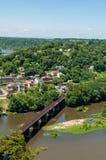 Η εναέρια άποψη του πορθμείου Harpers, δυτική Βιρτζίνια που βλέπει από τα ύψη της Μέρυλαντ αγνοεί Στοκ εικόνα με δικαίωμα ελεύθερης χρήσης